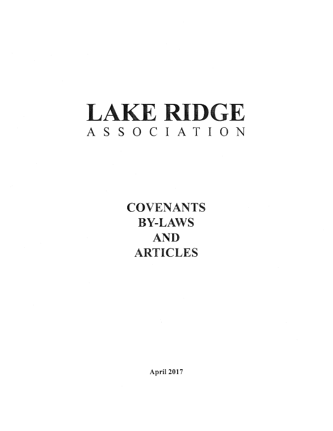 Covenants By-Laws and Articles